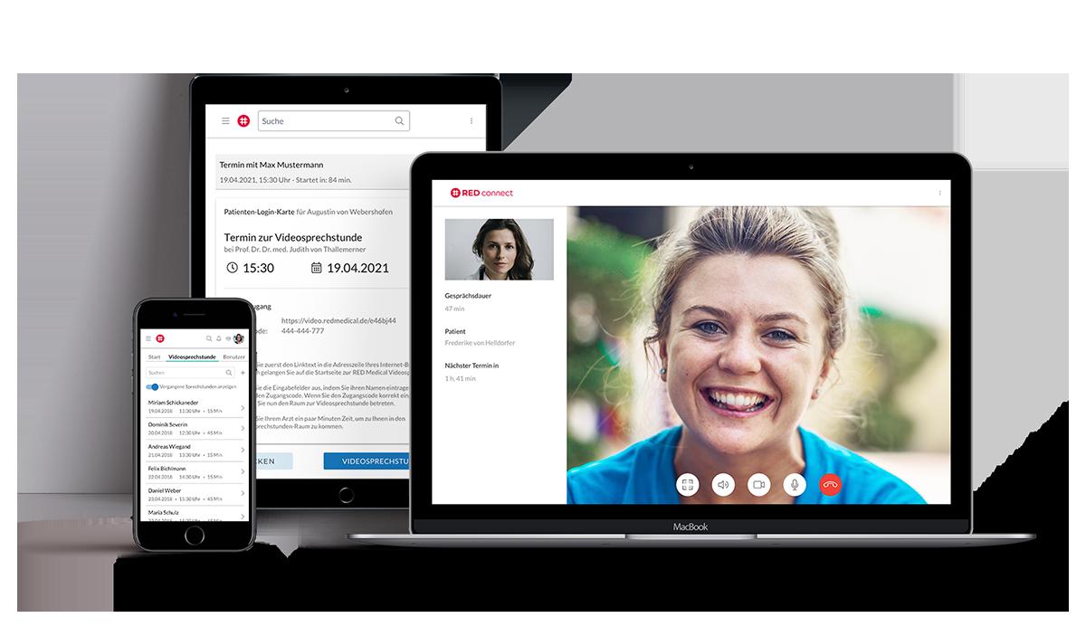 Videosprechstunde Arzt zu Patient auf Laptop, Handy und Tablet